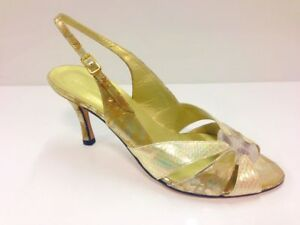 Sabrina Chic Womens Gold Peep Toe Slingback Heel Shoes UK8 / EU41 (2674 P-L 731)
