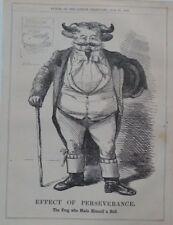 """7x10 """"punch Cartoon 1856 effet de persévérance la grenouille fait lui-même un taureau,"""