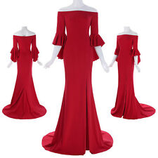 Women's Red Ruffle Sleeve Formal Wedding Long Evening Party Ball Prom Gown Dress