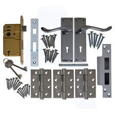 ASEC Scroll External Door Complete Mortice Lock, Handle, Hinges Set/Pack Chrome