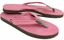 Women's RAINBOW Premier Leather Narrow Strap Flip Flops XL 8.5-9.5 PINK GREY