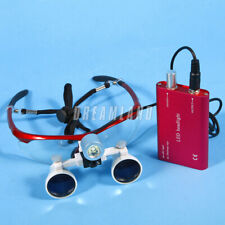 Surgical Dental Led Headlight Lamp Battery Amp 35x420mm Loupes Magnifier Red