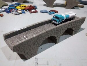 MODEL RAILROAD TT GAUGE 1:120 DOUBLE ARCH STONE BRIDGE OVERPASS  LASER ENGRAVED