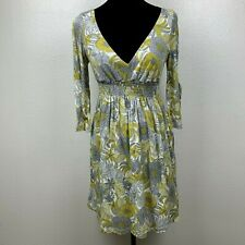 NWT Anthropologie Puella Mustard Green Gray V-Neck Floral Mini Dress Size S