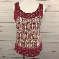 Eddie Bauer Women's Top Size Small 100% Cotton Red Boho Floral Sleeveless Tank