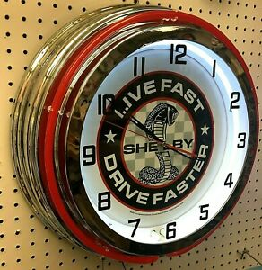 """19"""" SHELBY LIVE FAST DRIVE FASTER Double Neon Clock Cobra Mustang GT350 GT500"""