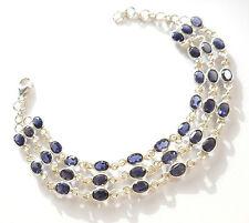 Natural Iolite Not Enhanced Sterling Silver Fine Bracelets