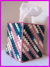 TEAL DARK ROSE WHITE HANDMADE PLASTIC CANVAS TISSUE BOX COVER TOPPER