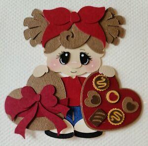 Valentine Chocolates Girl Brunette Hair. Scrapbook, Card making Paper Piecing