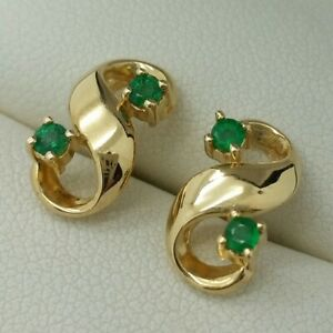 14ct Yellow Gold Emerald Set Stud Earrings