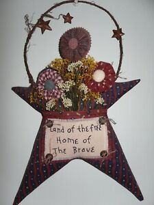 Americana Country/Primitive Handcrafted Stars & Flowers Wall Decor