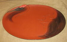 Antique Japanese Red Lacquer Tray Bird Crane Form