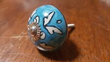 Hand-made Hand-painted Ceramic Drawer Knob - Blue with white leaves - S15