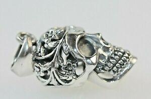 Gothic Skull Skeleton Pendant Sterling Silver *11grams