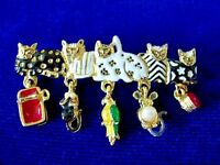 Vintage CAJC 5 Enameled Cats w/Dangle Mice/Yarn/Bird/Can Gold Tone Pin - Estate