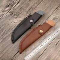 1 X Leather Straight Knife Sheath Pouch Embossing with Belt Clip Black Brown New