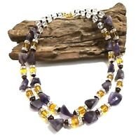 Crystal Purple Jasper Gemstone Bead Handmade Choker Statement Necklace
