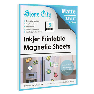 Matte Magnetic Inkjet Printable Paper 5 Sheets 8.5x11 Adhesive Flexible Blank