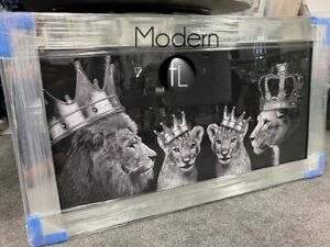 Silver Lion pride family wall picture in mirrored frame, lion family 115x65 cm