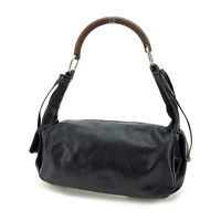 miumiu Shoulder bag Logo Black Brown Woman Authentic Used Y3288