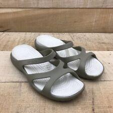 Crocs Womens Slides Sandals Beige Straps Slip Ons 8