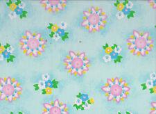 Aqua / Lilac Floral Polycotton Fabric 115cm wide ( x 1.45 metres)