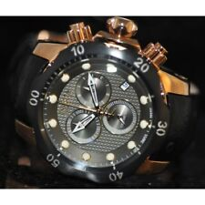 Invicta Mens Rare Venom Swiss Reserve Chrono Grey Dial Black Leather Watch 16154