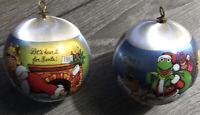 Hallmark Muppets 1981 Miss Piggy Santa Kermit Christmas Ball Ornaments  Set Of 2