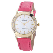 New Geneva Women Diamond Analog Leather Quartz Wrist Watch Hot Pink Xmas Best