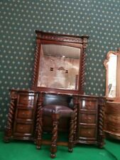 Mahogany Tudor Style dressing table mirror and stool