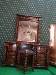 Mahogany Tudor Style dressing table mirror and stool