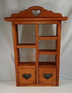 VINTAGE WOODEN KNICK KNACK WALL DISPLAY WITH HEARTS ON DOORS