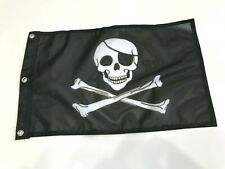 "12x18"" Jolly Roger Pirate Skull Flag Super Polyester  MOTORCYCLE BOAT Grommet9"