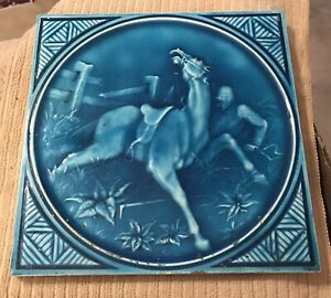 "Minton Hollins & Co Tile Works Blue Art  8"" Tile 1880s ""Horse Accident"" NICE! #1"
