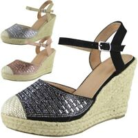 Womens Ladies Hessian Espadrilles Platform Shoes High Heel Wedge Sandals Size