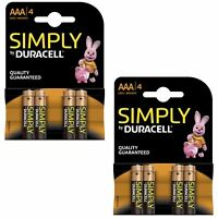 8 x Duracell Simply AAA 1.5v Batteries Pack Alkaline LR03 MN2400 Lasting Power