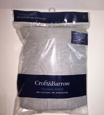 "CROFT & BARROW Men's Solid Thermal Underwear Pants""GREY HEATHER"" Size L NEW Tags"