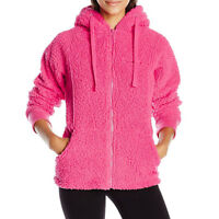 BEARPAW Women's hoodie polar fleece jacket with Bear ears St Petersburg- CORAL