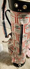 "New listing Budweiser ""all over"" logo print golf bag with Rain Cover RARE Bud Beer Bag!"