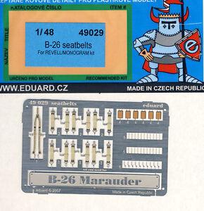 Eduard Seatbelts B-26 Marauder Seat Belts Etched Parts 1:48 Kit Cockpit