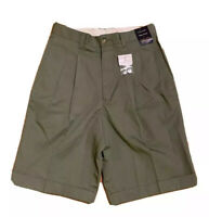 """G2000 Mens Size 29 10"""" Inseam Olive Green Flat Front Shorts Casual Work VTG NWT"""