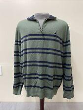 NWT Nautica Green/Navy Mens Sweater New 2XL Striped Pullover 1/4 Zip Collar FS
