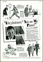 1938 Talon slide fastener men women clothing comic art vintage Print Ad  adL50