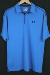 Under Armour Mens sz XL Blue Heat Gear Stretch Performance Golf Polo