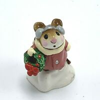 Wee Forest Folk Miniature Figurine Holly Mouse with a Wreath M 87 Retired