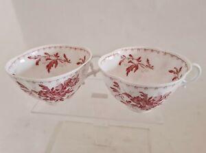 2 Tasses en Porcelaine de Sarreguemines décor de Fleurs rose du XIXème