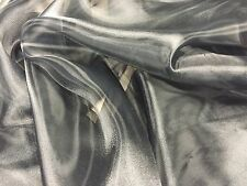 PLAIN BLACK SHEER CRYSTAL POLYESTER ORGANZA 150 CMS WIDE PER METRE