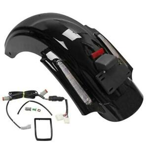 Dual Cut Out Stretched Extended Rear Fender w LED for 09-13 Harley Touring