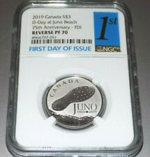 2019 CANADA $3 JUNO D-DAY REVERSE PROOF 70 PF70 SILVER FIRST DAY ISSUE NGC COIN