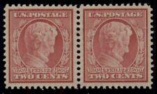 US #369, 2¢ Lincoln, bluish paper, Pair, og, LH, XF, Miller certificate